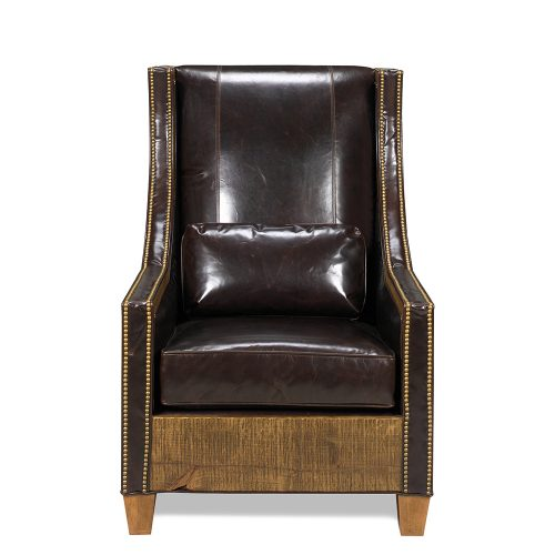Hickock Reclaimed Barn Wood Chair - Allure Leather 65020