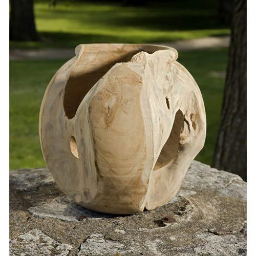Macaque Teakwood Round Vase 54111