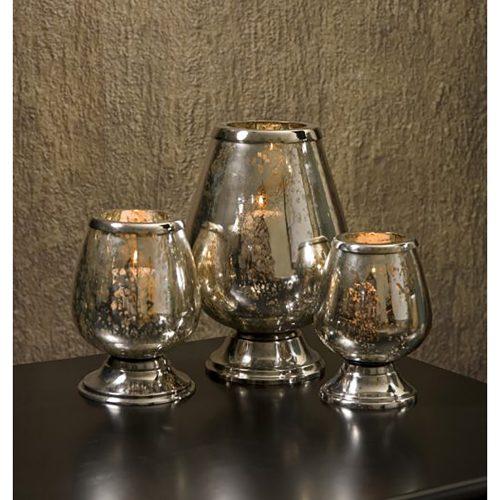 Round Mercury Glass Candleholders 60657-3