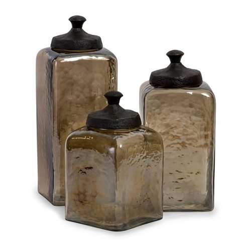 Square Brown Luster Canisters 6975-3
