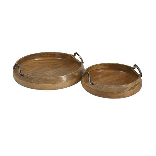 Vallari Round Wood Trays 71730-2
