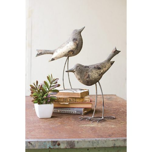 Set of 2 Metals Birds - Rustic Grey CHE1079