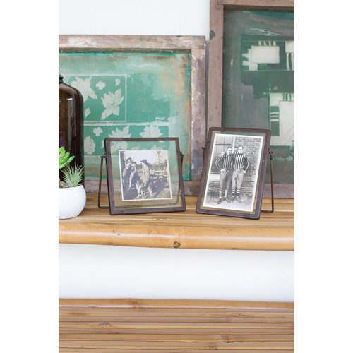 Set of 2 Glass Photo Frames With Metal Trim and Metal Easel CHH1047