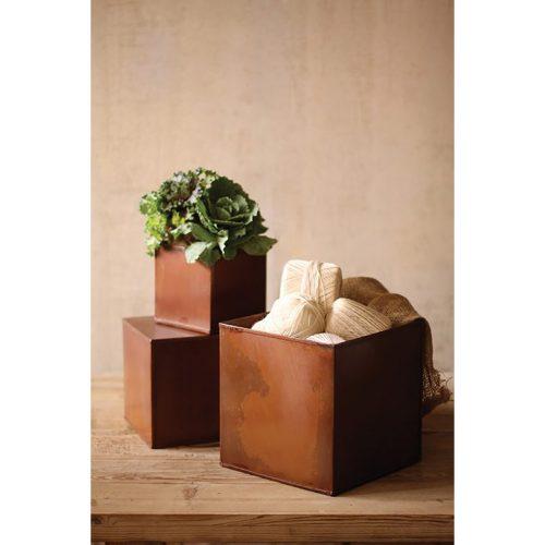 Set of 3 Rustic Metal Boxes CQ1450