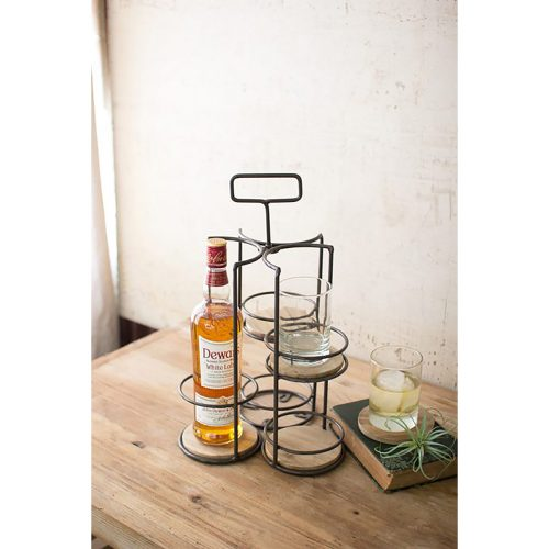 Whiskey and Highball Caddy With Four Removable Wooden Coasters CQ6637