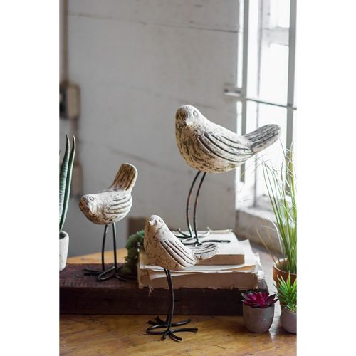 Set of 3 Clay Birds With Rustic Copper Legs H8433