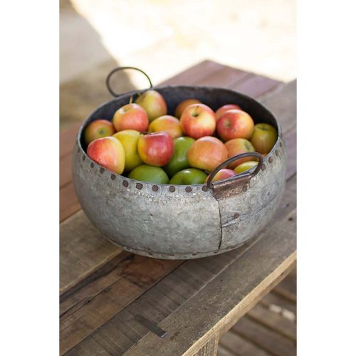 Reclaimed Metal Bowl With Handles NPJ1016-hr