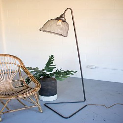 METAL FLOOR LAMP WITH WIRE MESH SHADE-cq6813-hr