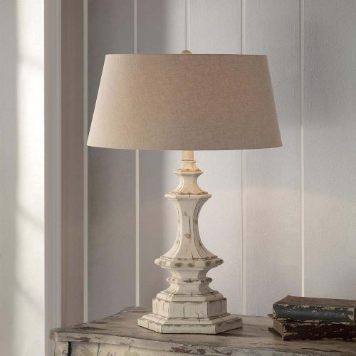 "Wooden Column Table Lamp 34""Ht CVA"