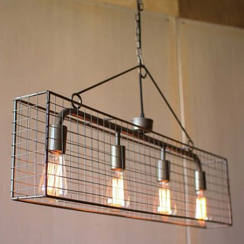 Four Bulb Wire Mesh Horizontal Pendant Light CQ6868