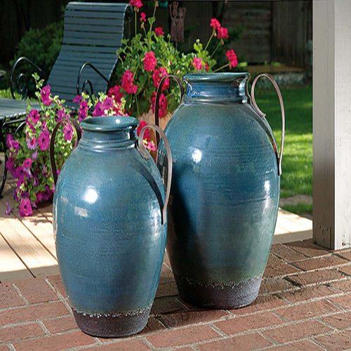 Harrisburg Large Vase with Metal Handle 13610