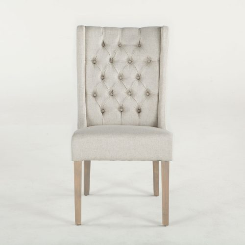 New Tufted Off-White Linen Lara Dining Chair