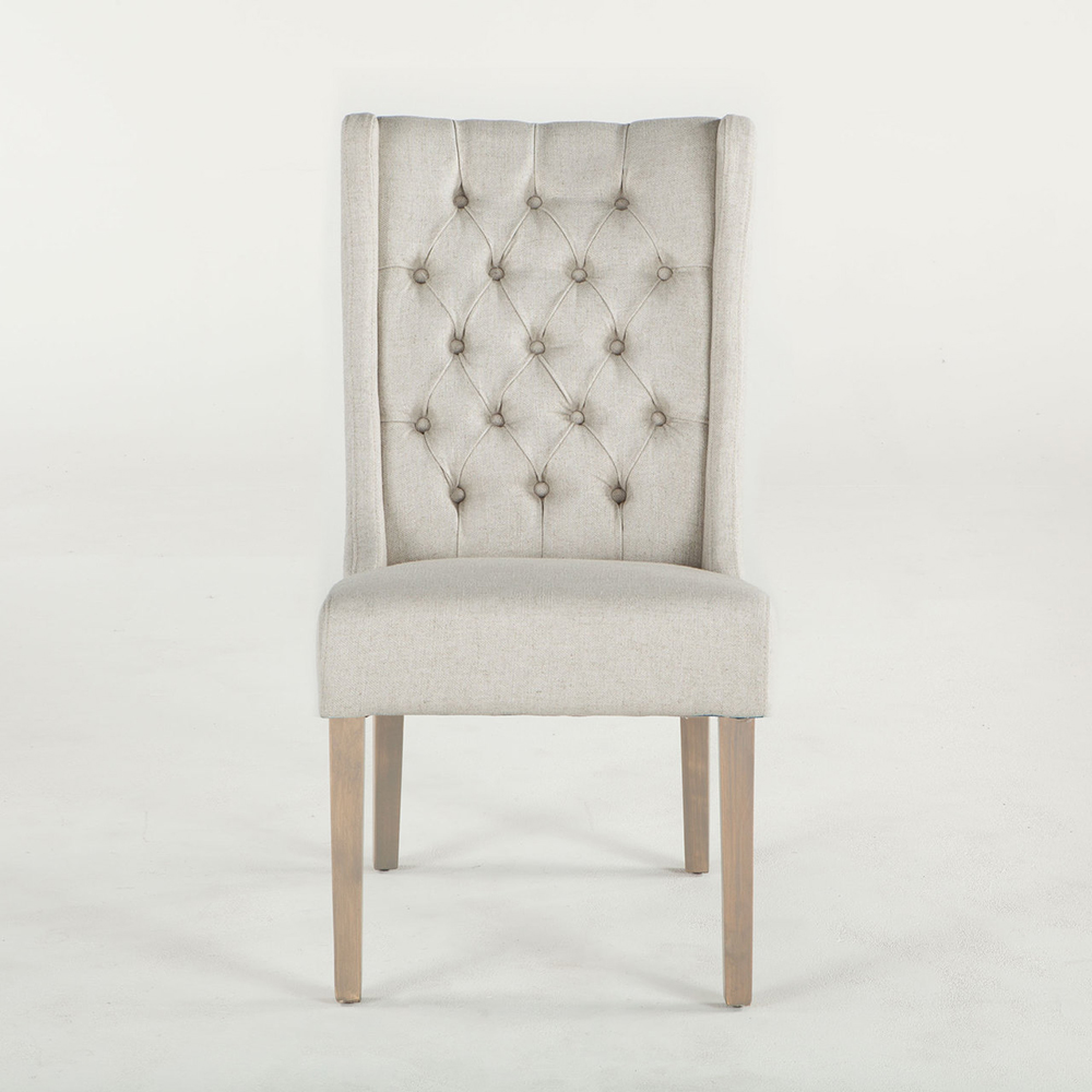 New Tufted Off White Linen Lara Dining Chair