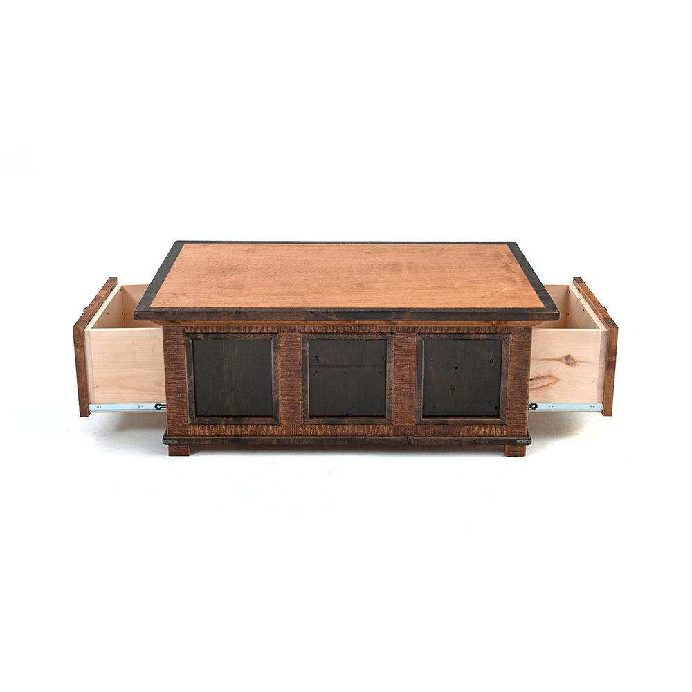 Saratoga reclaimed barn wood 2 drawer coffee table for 12 drawer coffee table