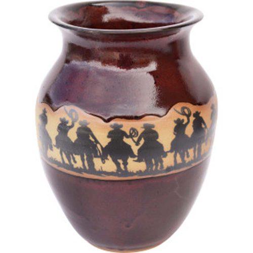 Cowboy Roundup Wide Neck Vase 163CowboyRoundup