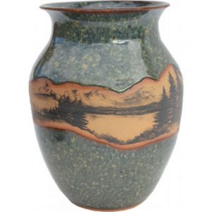 Mountain Scene Wide Neck Vase 163MountainScene