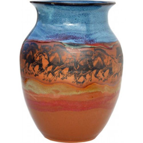 Wild Horses Wide Neck Vase 163WildHorses