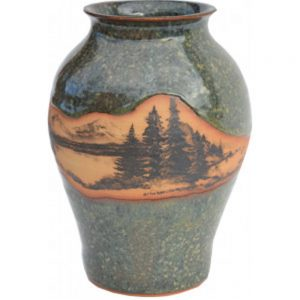 Mountain Scene Medium Neck Vase 164MountainScene
