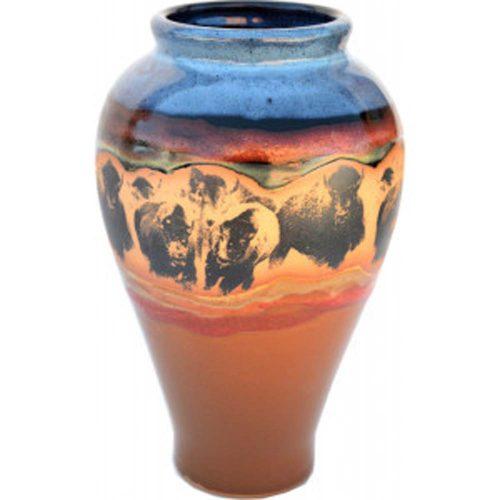 Bison Stampede Slender Vase 165BisonStampede