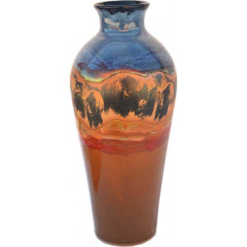 Bison Stampede Tall Vase 168BisonStampede