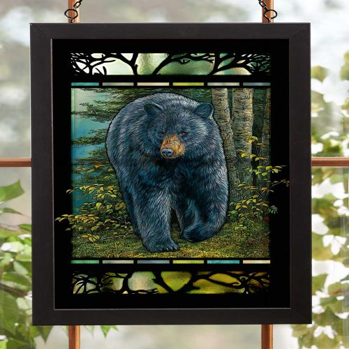 Rocky Outcrop-Black Bear Stained Glass Art 5386498026