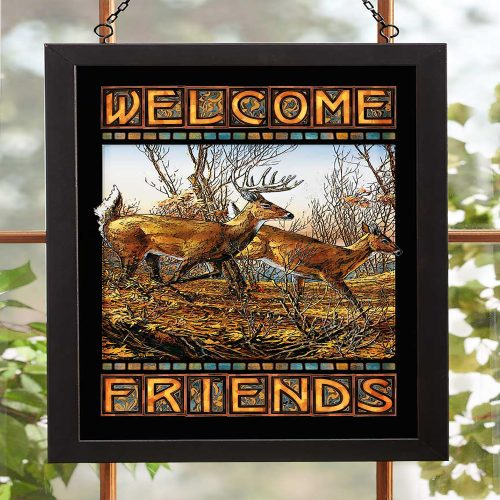 Welcome Friends-Deer Stained Glass 5386499008