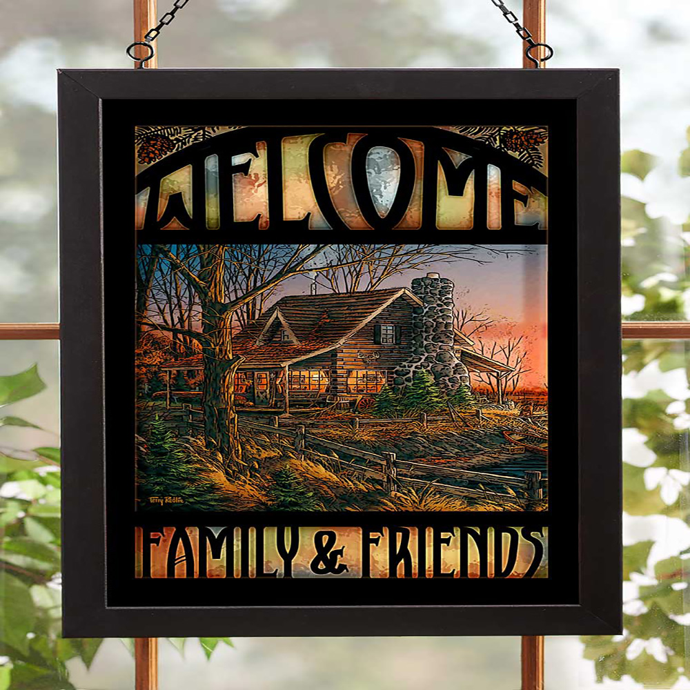 Welcome Family & Friends Stained Glass 5386499009