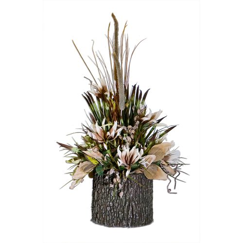 Cotton Hull Woodland Arrangement in Large Faux Birch Log