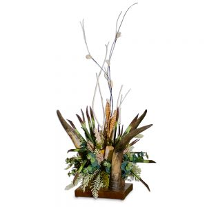 Green Yucca and Birch Arrangement in Vertical 3 Horn Centerpiece