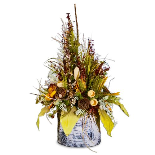Woodland Arrangement with Mustard Accents in Giant Faux Birch Log AUI-F156
