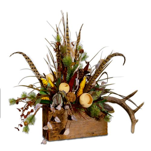Cotton Hull and Antler Centerpiece in Reclaimed Wood Box