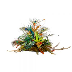 Turquoise, Rust and Succulent Arrangement on 3 Natural Antler Base