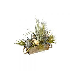 Distressed Galvanized Pot with Natural Greenery, Succulent, and Pod Arrangement