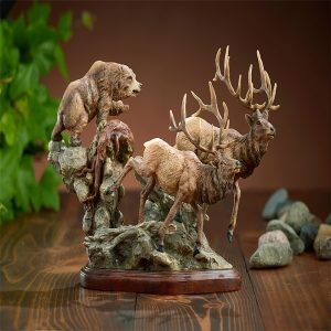 The Encounter-Elk & Grizzly Bear Sculpture 6567732766