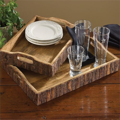 Wood with Bark Edge Serving Trays