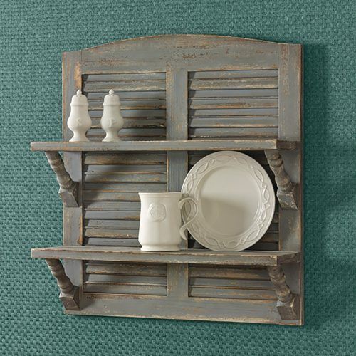 Double Shutter Shelf Aged Grey