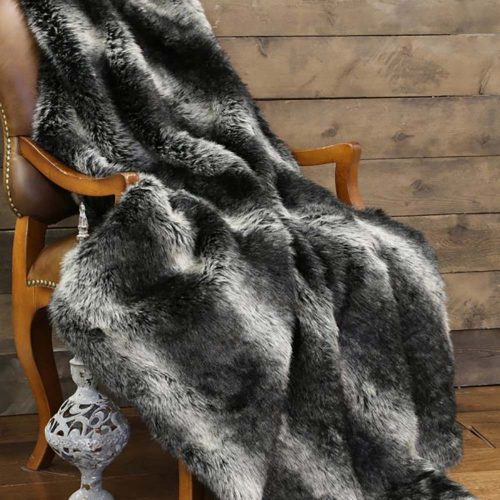 Black Wolf Fur Throw JB3057