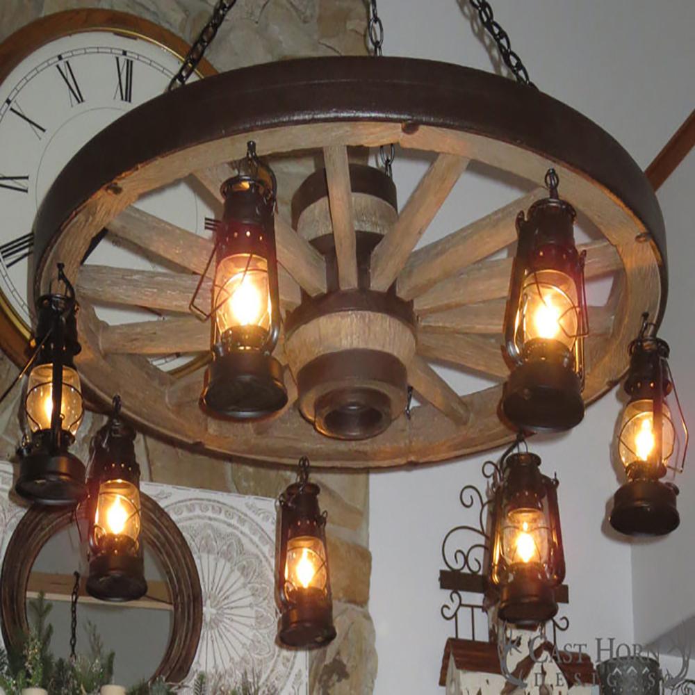 Large Wagon Wheel Chandelier With Lanterns WWLSL