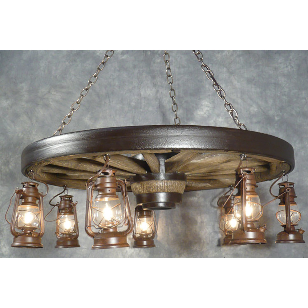 Large wagon wheel chandelier with lanterns wwlsl large arubaitofo Image collections