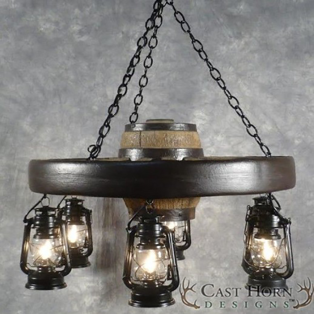 Wagon Wheel Light Chandelier: Small Wagon Wheel Chandelier With Lanterns WWSSL