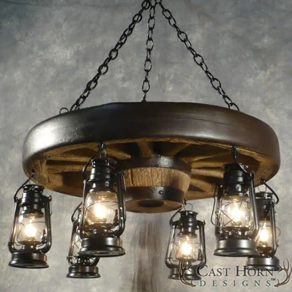 Small Wagon Wheel Chandelier With Lanterns WWSSL