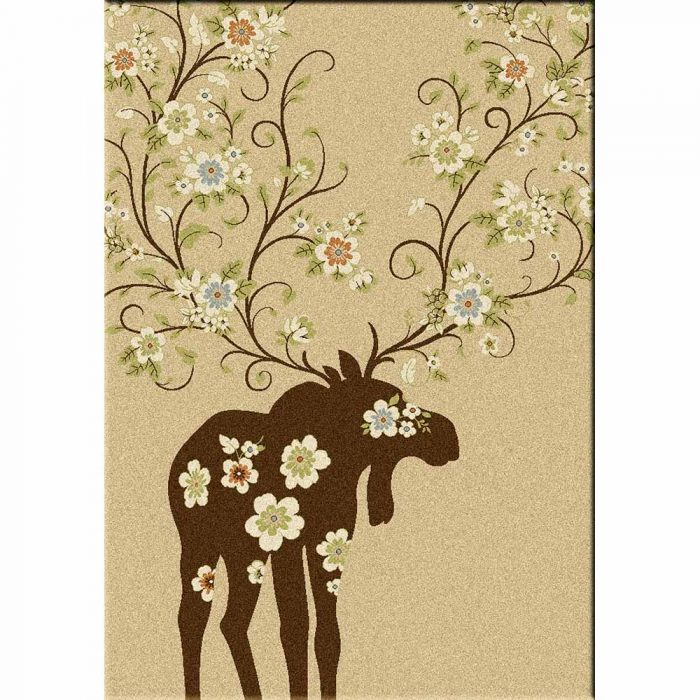 Cream Brown Moose Rug