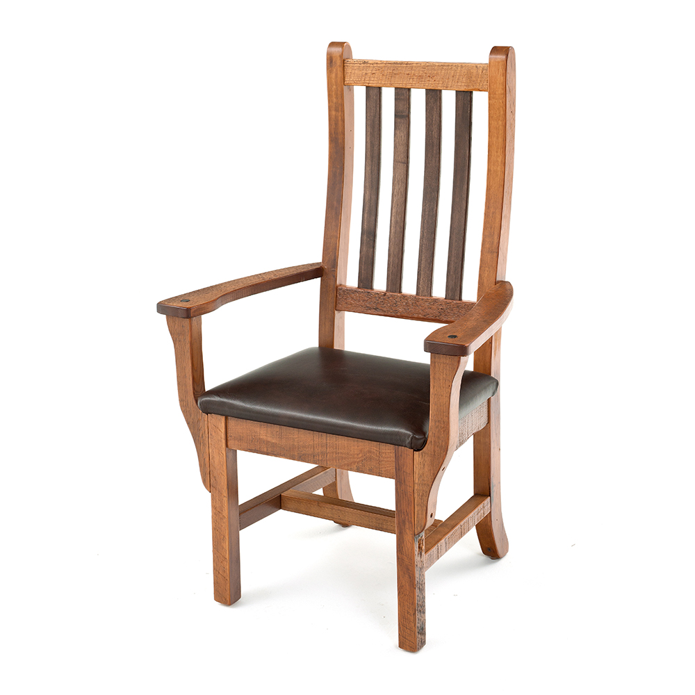 Heritage reclaimed barn wood arm chair leather seat for Wood dining arm chairs