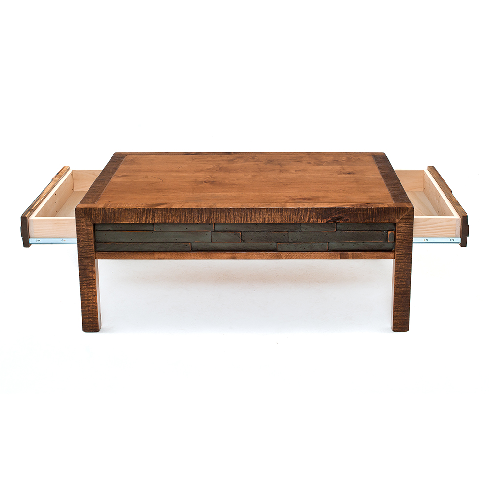 Chelsea reclaimed barn wood drawer coffee table