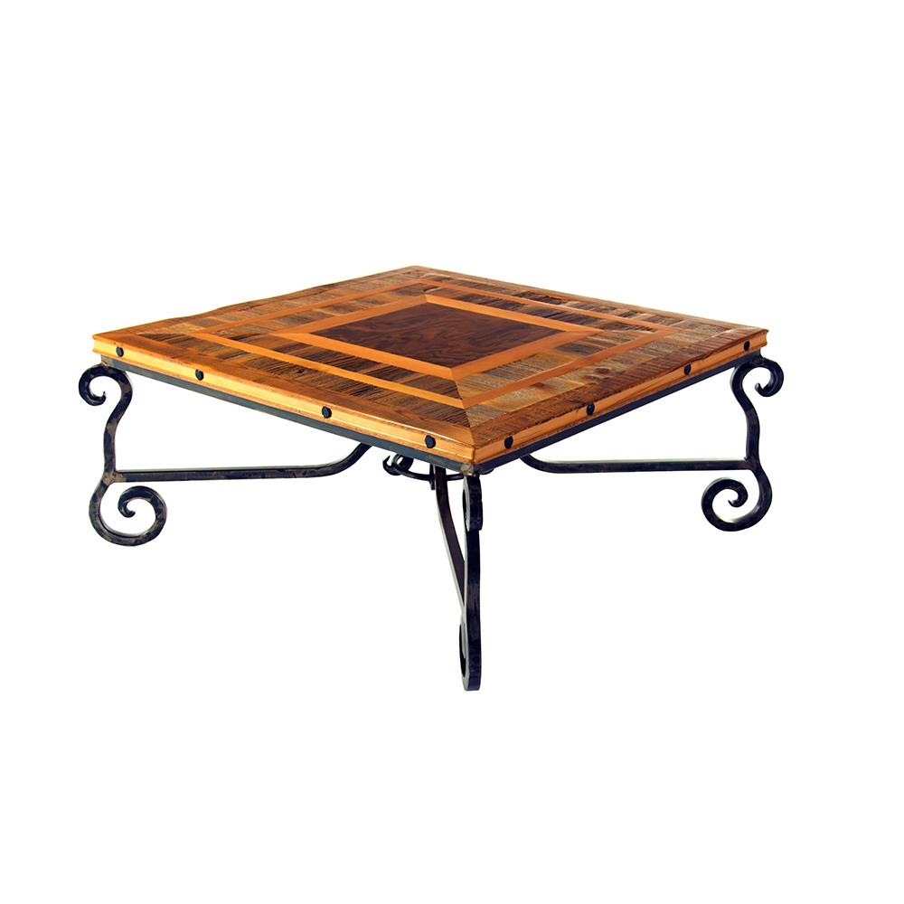 Reclaimed Wood Coffee Table Legs: Durango Reclaimed Barn Wood Coffee Table-Iron Legs