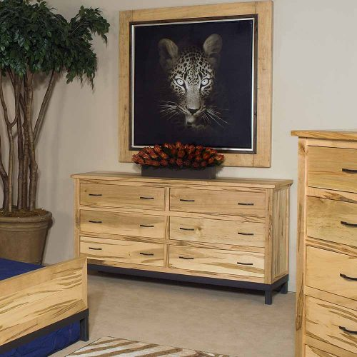Denver 6 Drawer Cherry-Maple Dresser-Metal Legs 88425-MM