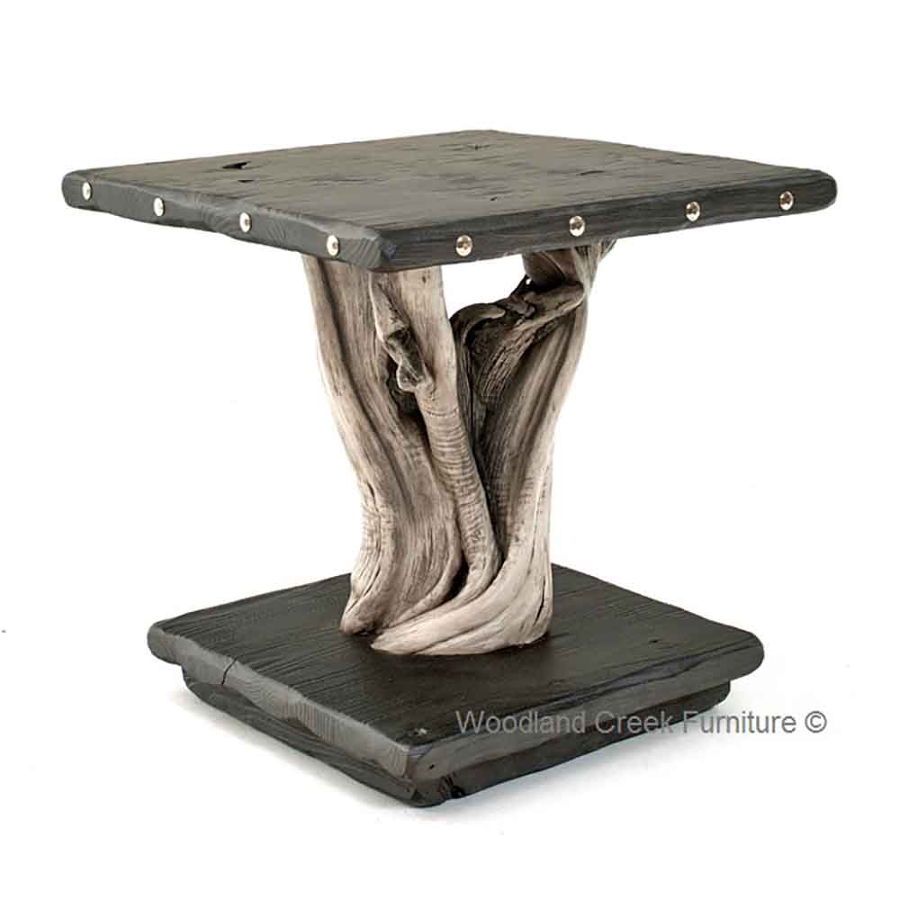Driftwood End Table: Rustic Driftwood End Table
