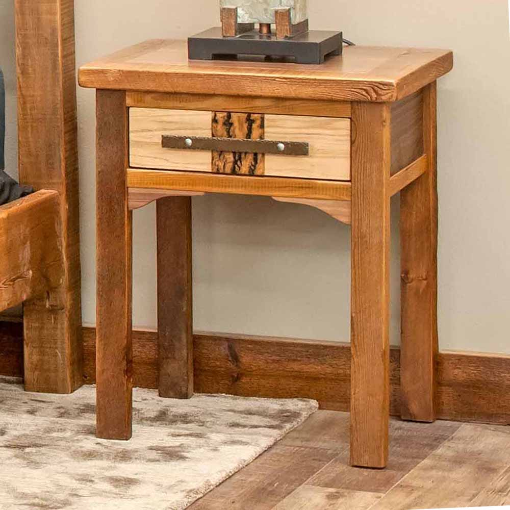 50 Staircases That Expertly Mix Function And Style: Mendocino Reclaimed Barn Wood 1 Drawer Nightstand-TM Designs