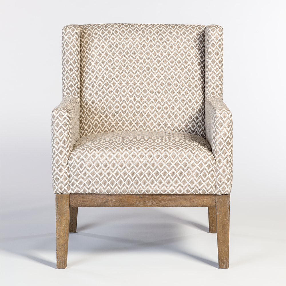 Houston Occasional Chair AT9019 LO/CHT Birch Wood Frame With Loomed Obsidian