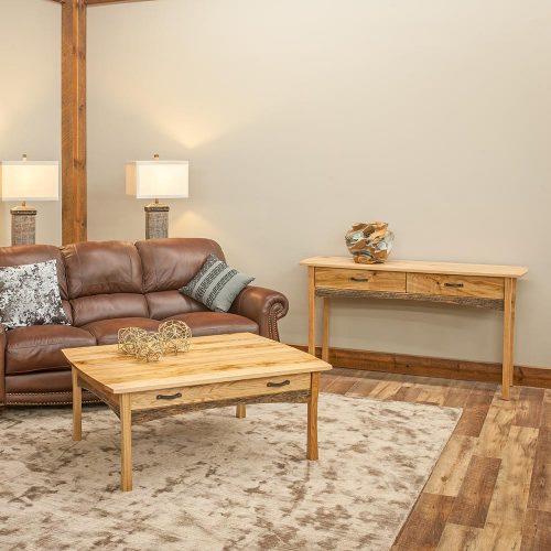 Hampton Heath Reclaimed Barn Wood 2 Drawer Sofa Table HH7270